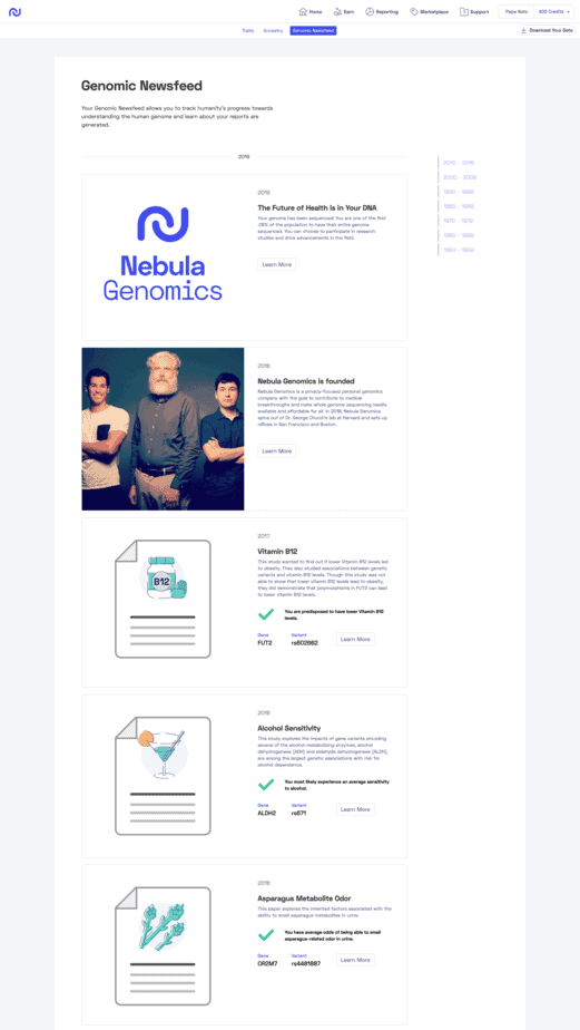 Nebula Genomic Newsfeed - Milestones in the study of the human genome