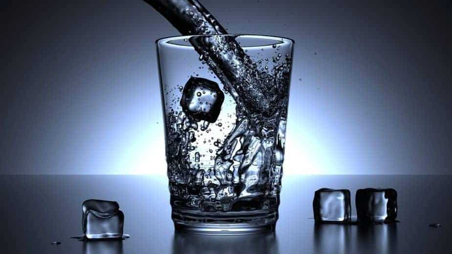 Water glass with ice, ulcerative colitis