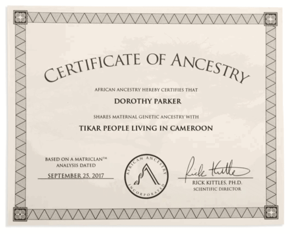 Sample African Ancestry certificate.