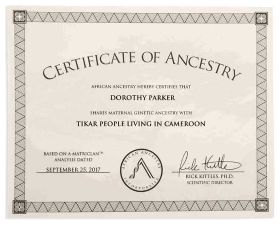 Образец сертификата африканского происхождения.