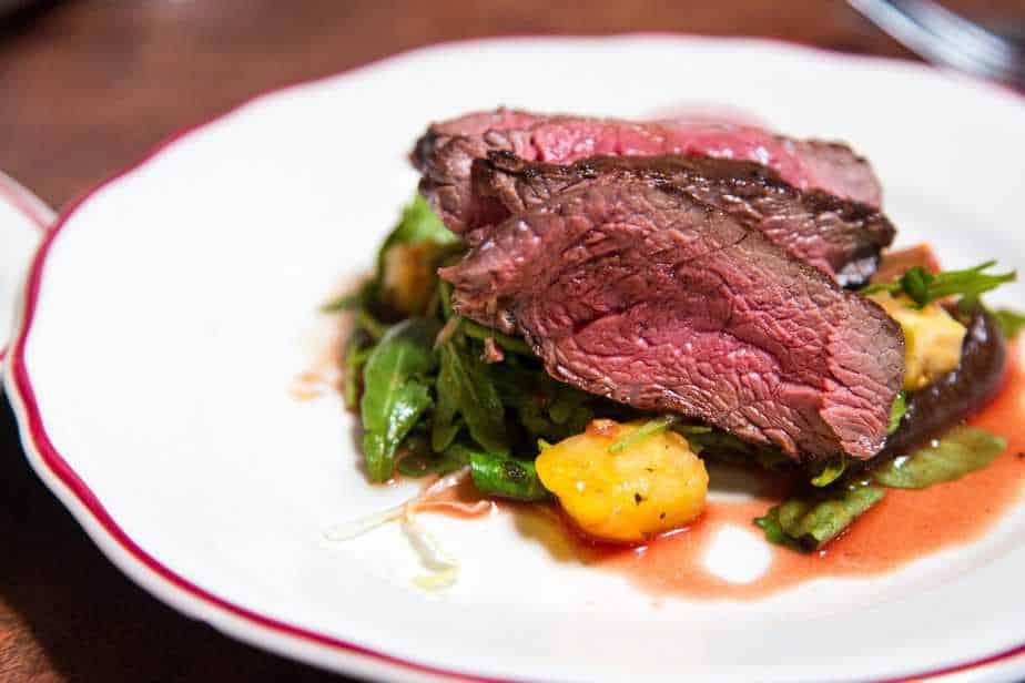 medium rare steak on a plate