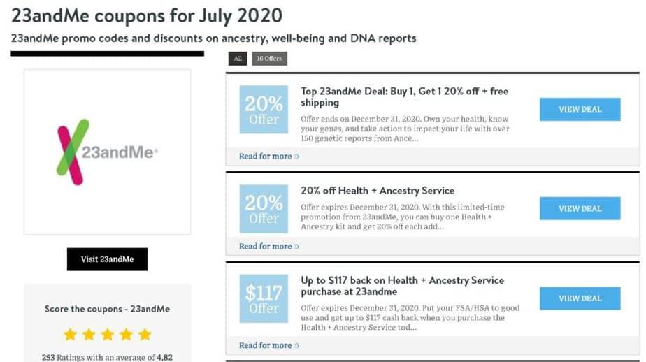 Купоны 23andMe доступны на таких сайтах, как Wired, Forbes и PCWorld.