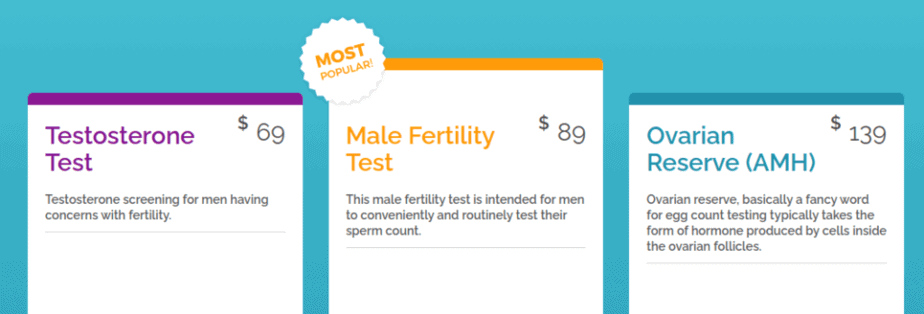 MyLab Box offers three types of fertility tests.