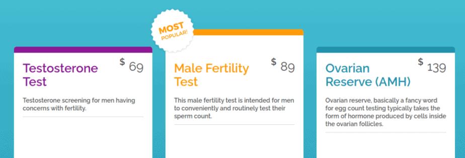 MyLab Box ofrece tres tipos de pruebas de fertilidad.