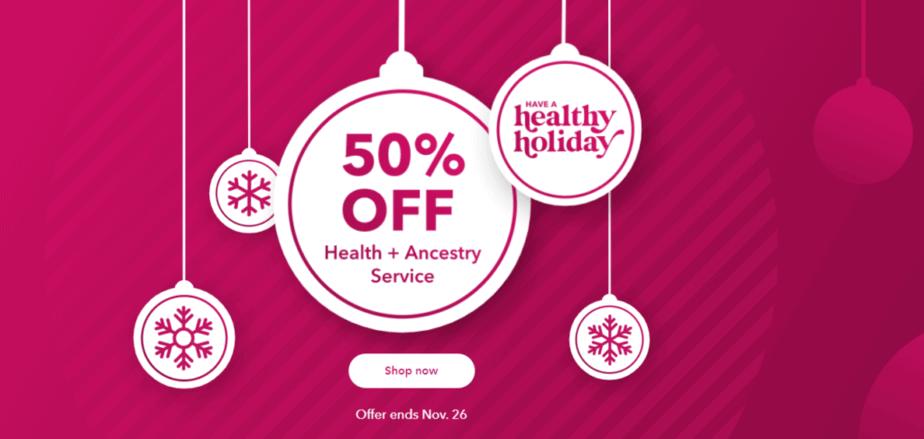 Скидка 23andMe в размере 50% на наборы Health + Ancestry