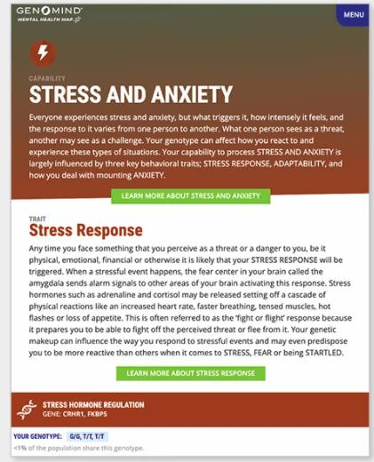 Ein Beispiel für den Genomind-Leitfaden zu Stress und Angst