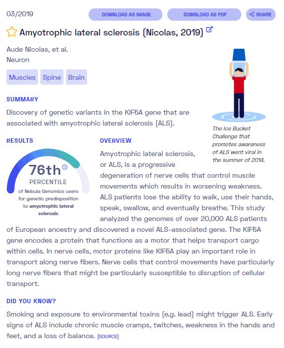 Ein Beispielbericht über ALS von Nebula Genomics
