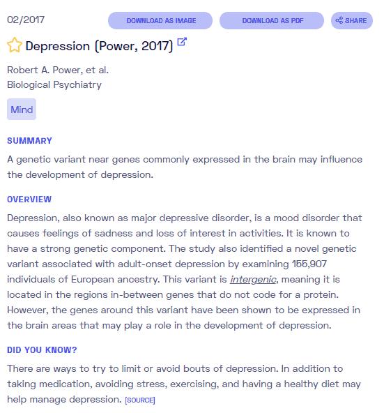 Ist Depression genetisch bedingt? Beispielbericht von Nebula Genomics