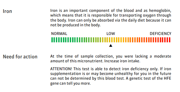 A sample report for low iron