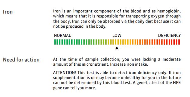 Um relatório de amostra para baixo teor de ferro