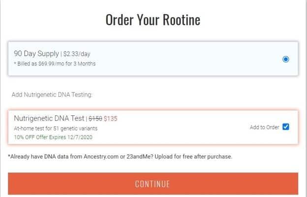 Bestellung eines Rootine-Tests