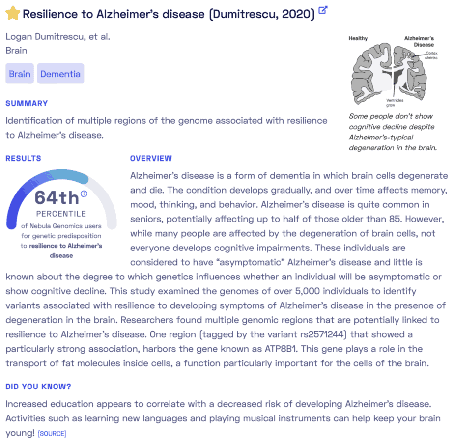 Is Alzheimers genetic? Sample report from Nebula Genomics.