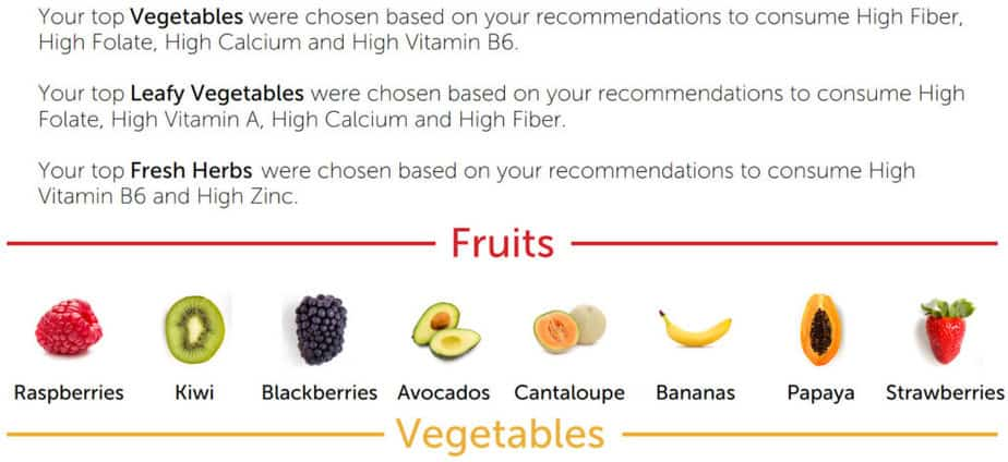 GenoPalate provides a list of recommended foods. The food is broken down into 16 categories, such as fruit and vegetables. From GenoPalate review.