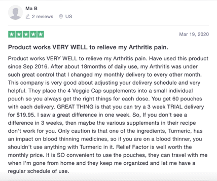 A positive Relief Factor review