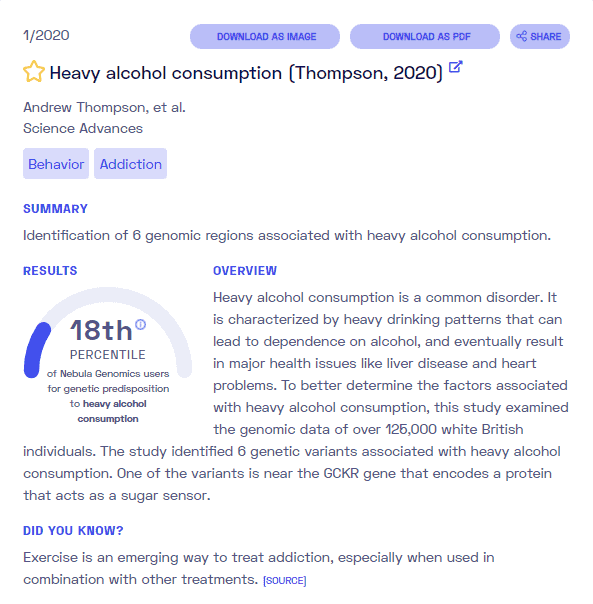 A sample report on alcoholism from Nebula Genomics