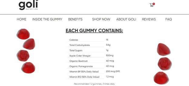 Información nutricional de Goli Nutrition