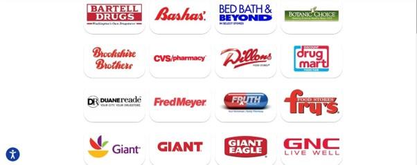 Uma seção da lista de lojas de varejo da Prevagen