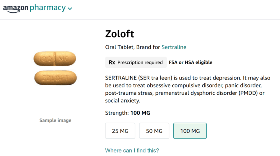 Zoloft on Amazon