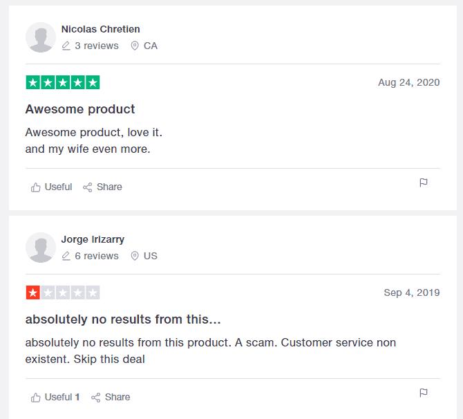 Customer reviews on TrustPilot