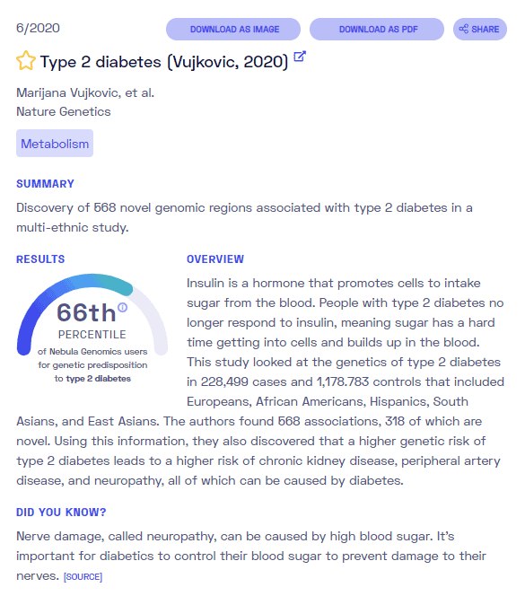 Is diabetes genetic? Sample report from Nebula Genomics