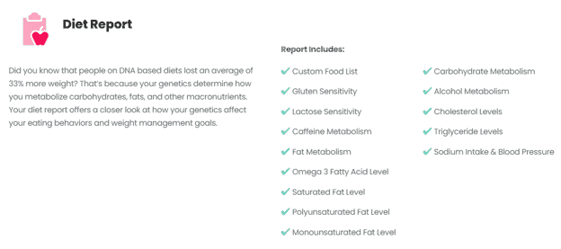 A diet report produced from DNA diet testing