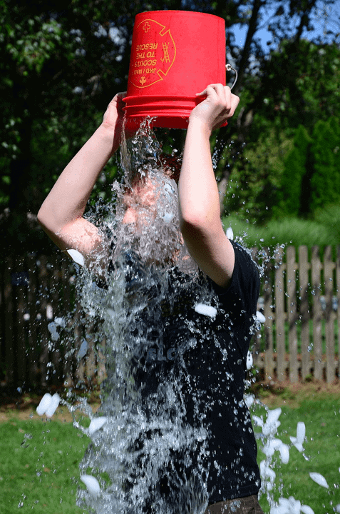 An ice bucket challenge participant.