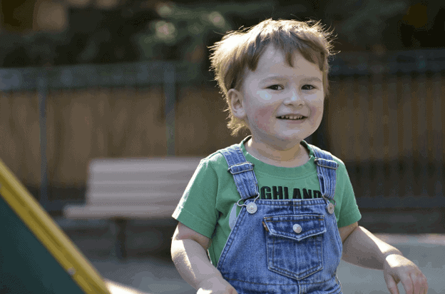 A toddler. Most children with Asperger's aren't diagnosed until later.