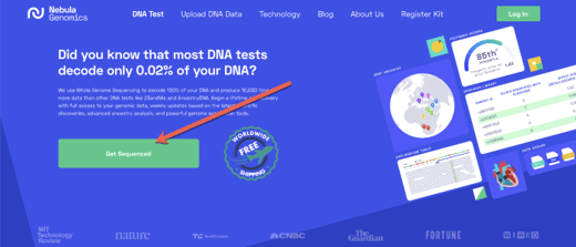 The ordering page on Nebula Genomics