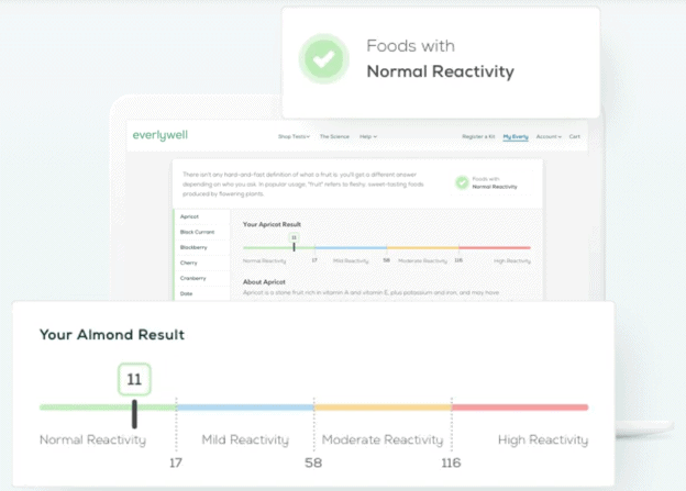 Sample results from EverlyWell's at home food sensitivity test