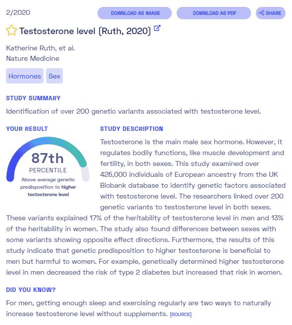Sample report on low testosterone in men from Nebula Genomics