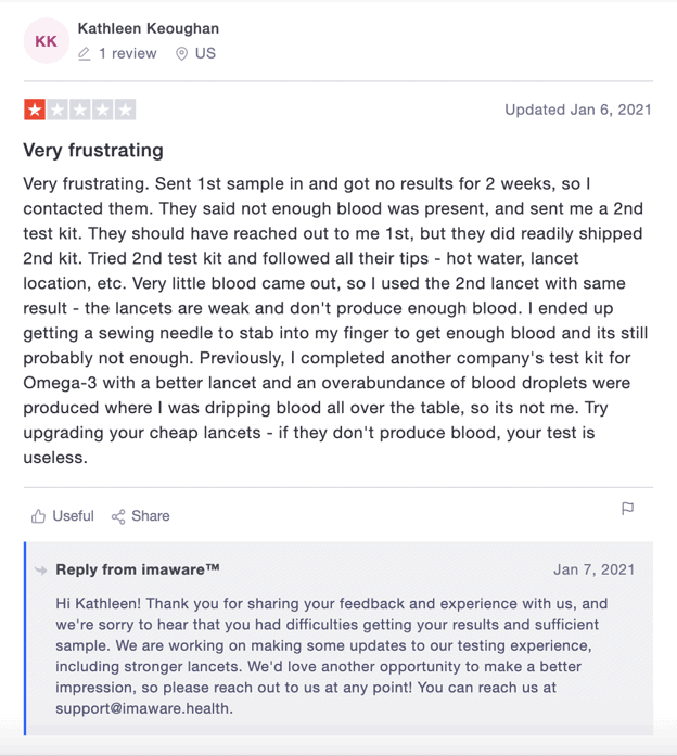 A negative imaware review with company response on Trustpilot