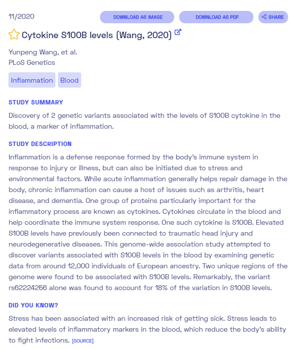cytokine S100B levels sample report from Nebula Genomics