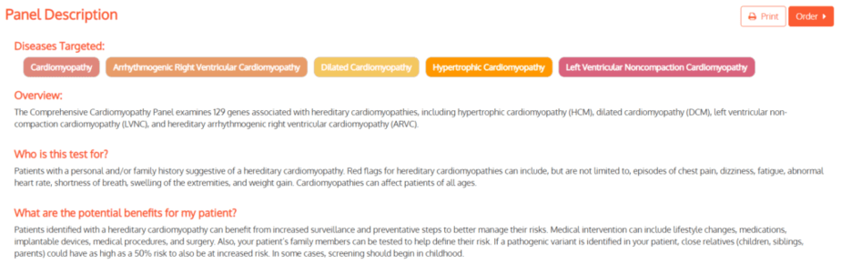 Panel description for Fulgent Genetics cardiomyopathy kit