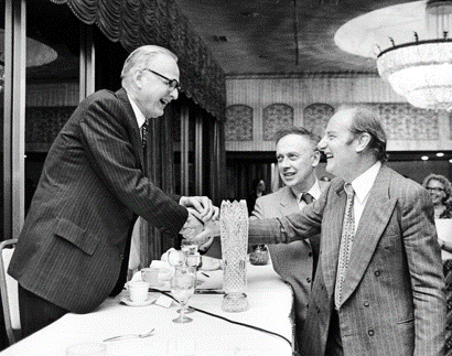 American geneticist Maclyn McCarty with Francis Crick and James D. Watson