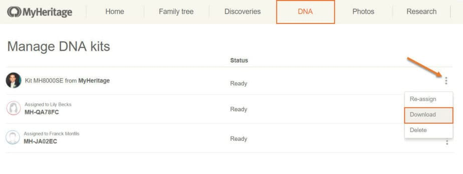 MyHeritage supports download of raw DNA data. From My Heritage review.