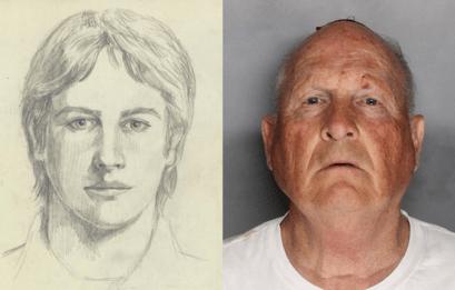 The Golden State Killer sketch and mugshot