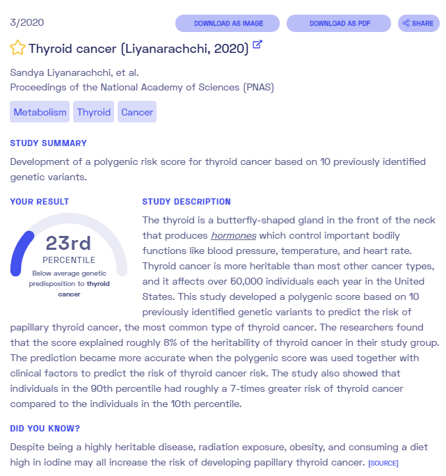 Sample report on thyroid cancer from Nebula Genomics. Check out our full article on thyroid cancer for more information.