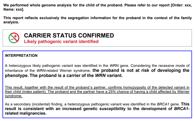Sample report of whole genome sequencing