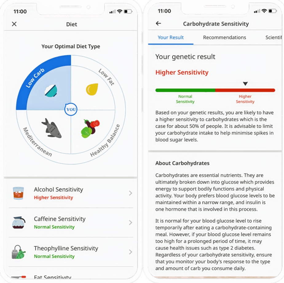 CircleDNA reporting feature of optimal diet type