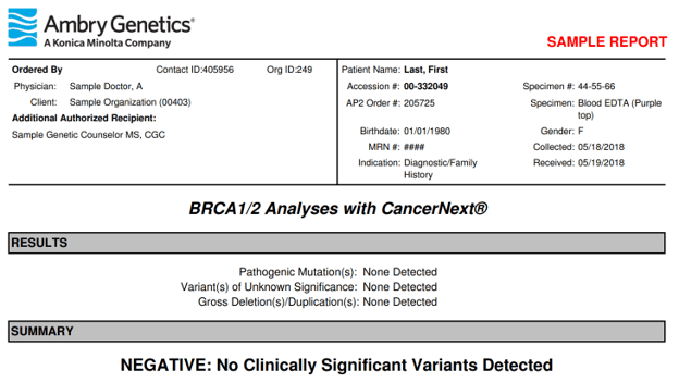 First part of a negative result from Ambry Genetics