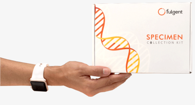 At-home specimen collection kit from Fulgent Genetics to use for colon cancer genetic testing