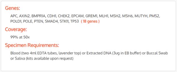 18 genes analyzed with Fulgent Genetics colon cancer testing