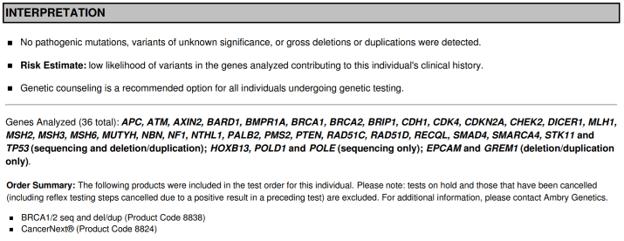 Interpretation of a negative result from Ambry Genetics